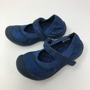 Hanna Andersson blue glitter Mary Janes 0574